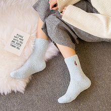 Embroidery Winter Kawaii Socks Cat Deer Thickening Women Cotton Lovely Plush Keep Warm Sleep Ladies Charming Cute Socks Hosiery