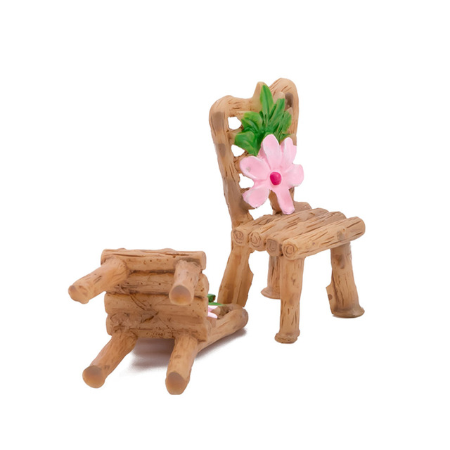 Home Micro Landscape Miniatures 3 Pcs/Set Cute Table Chair Resin Craft Ornament Fairy Garden Miniature Figurine Decoration 4