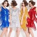 2017 Nova Primavera e Verão de Ouro Tassel Lantejoulas Vestido Vestidos Das Senhoras Mulheres Vestido de Dança Latina DS Roupas Trajes Latina