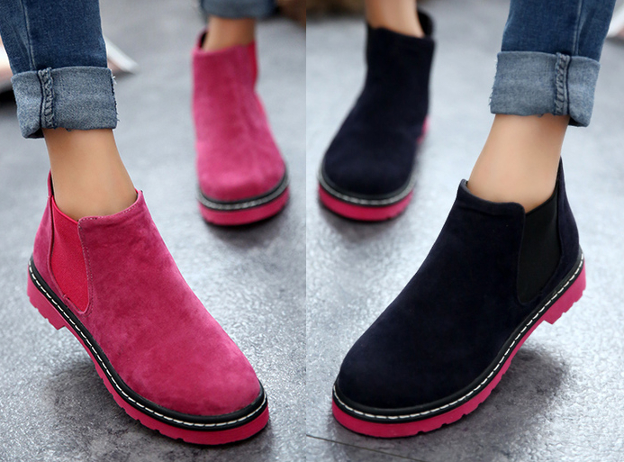 4c8313f83242 New 2016 Autumn Winter Brand Women Suede Leather Ankle Boots Flat Heels 6  Candy Colors Oxford Shoes Woman Casual Free Shipping-in Ankle Boots from  Shoes on ...