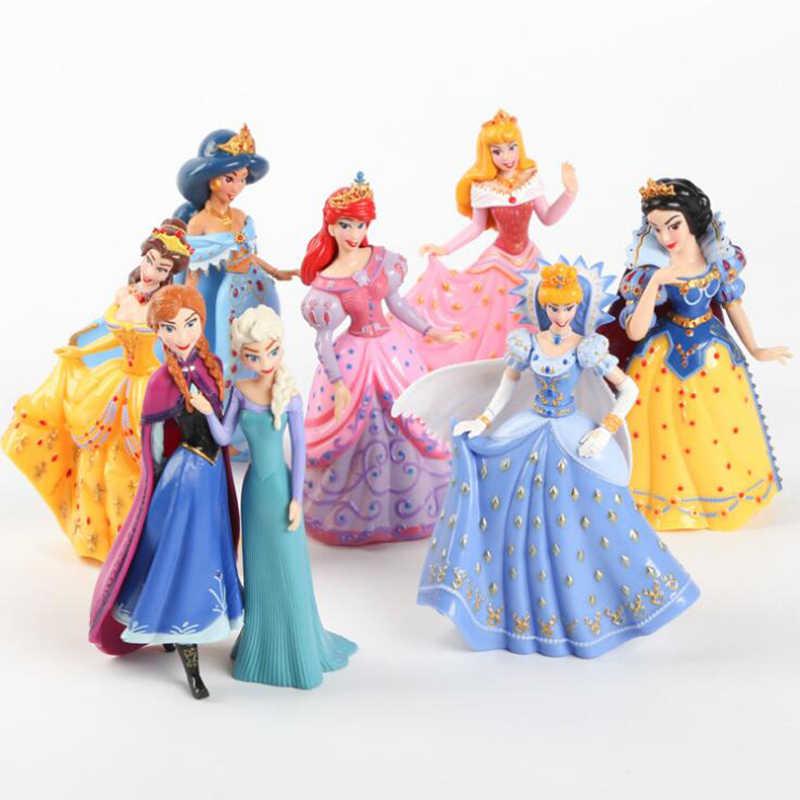 8 шт./лот Белоснежка принцесса фигурки Мулан Русалка бальное платье куклы Жасмин фигурки аниме детские игрушки подарки PVC Фигурки Игрушка