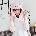 Happy Pink Pig Cartoon Pajamas For Adult Kids Warm Flannel Animal Siamese Pajamas Winter Family Fitted