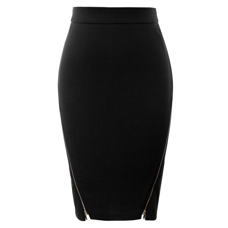 GK Womens Pin Up 50s Retro Business OL Hips-Wrapped Zipper Bodycon Pencil Skirt