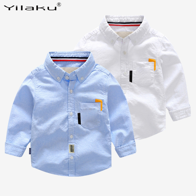 1c0b1a73 Aliexpress.com : Buy Yilaku Casual boys shirt long sleeve tops Solid blue  kids boy shirt cotton autumn children clothes boy bow tie Embroidery CG377  ...