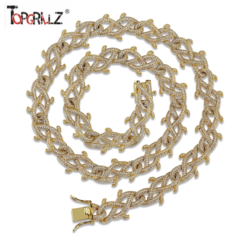 TOPGRILLZ Iced Out Crown of Thorns  Cuban Chain Necklace  Gold Finish Fashion Hip Hop Jewelry Cubic ZirconTOPGRILLZ Iced Out Crown of Thorns  Cuban Chain Necklace  Gold Finish Fashion Hip Hop Jewelry Cubic Zircon