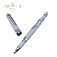 Most Popular Duke 318 Blue and White Rollerball Pen with Silver Clip 0.5mm Refill Black Ink Ballpoint Pen Business Gift Pens