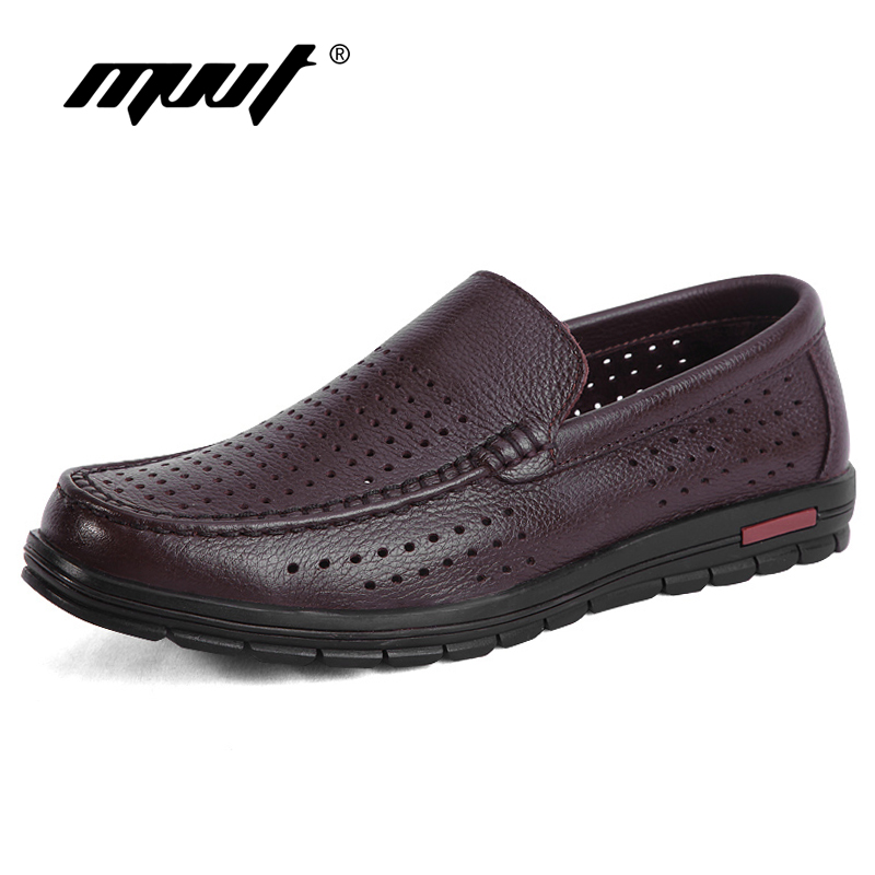 Genuine Leather Shoes Men Summer Breathable Men Loafers Plus Size Cool Hole Men Flats Top Quality