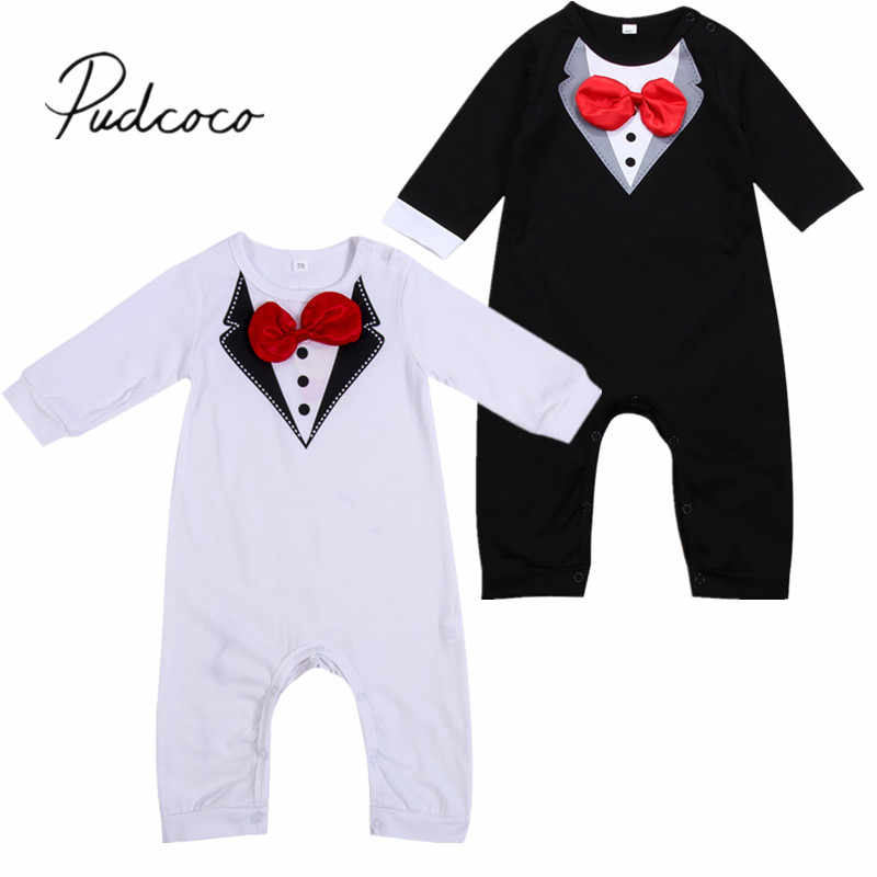25fb3afc3ed9 2018 Brand New Summer Formal Toddler Baby Gentalman Boys Romper Long Sleeve  Gentle Bow Solid Jumpsuits