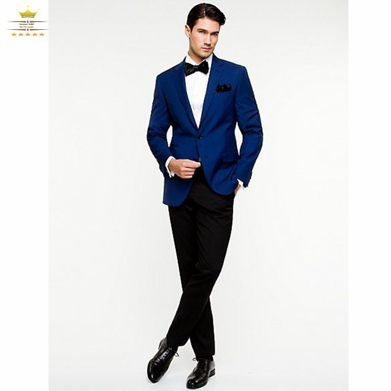 Navy Blue Suits With Black Pants Mens Tuxedos Custom Made Slim Fit ...