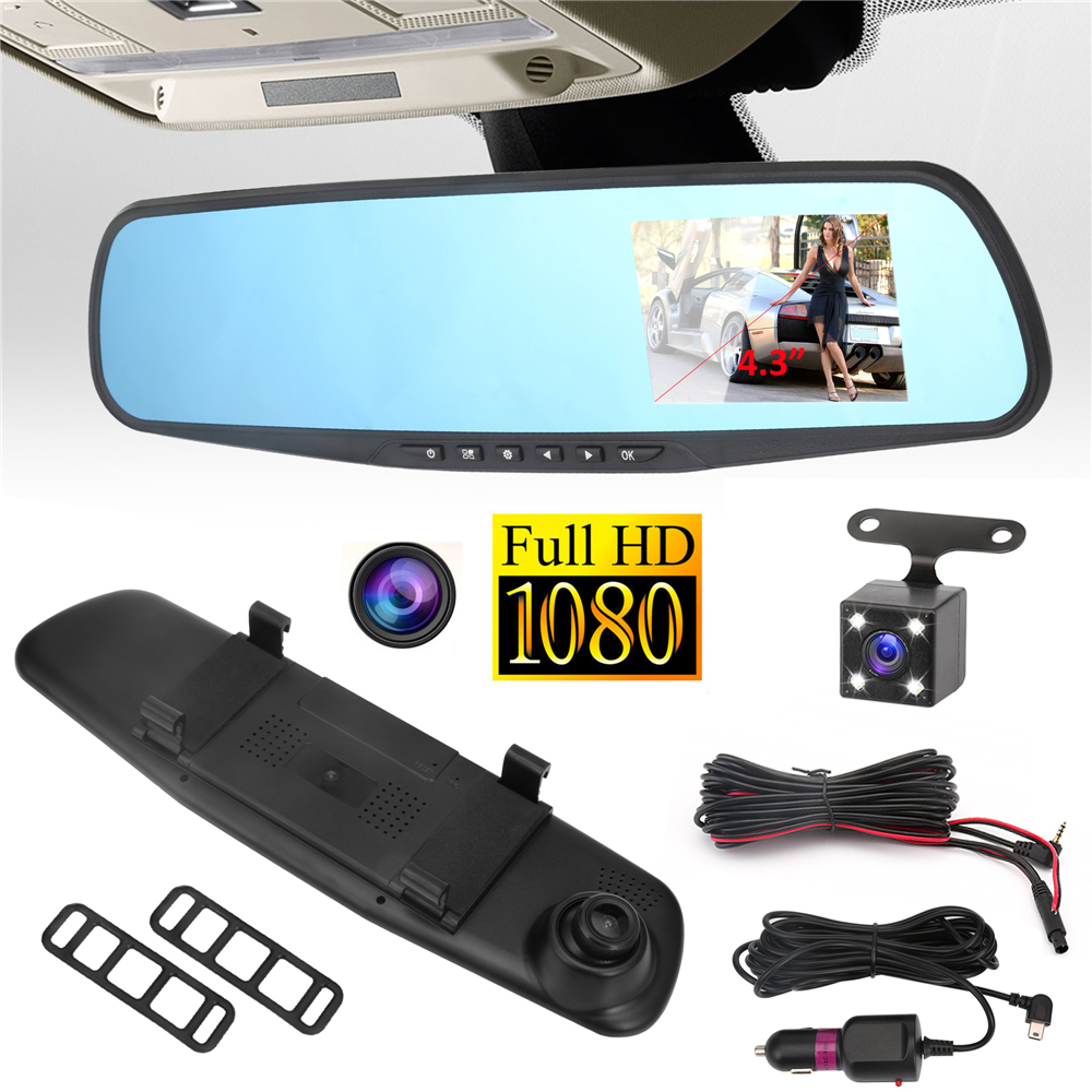 Car DVR Camera Rearview Mirror Auto Dvr Dual Lens Dash Cam Recorder Video Registrator Camcorder Full HD 1080p G sensor DVRs 12v e ace car dvr 5 inch camera full hd 1080p dual lens rearview mirror camcorder auto video registrator dvr recorder dash cam