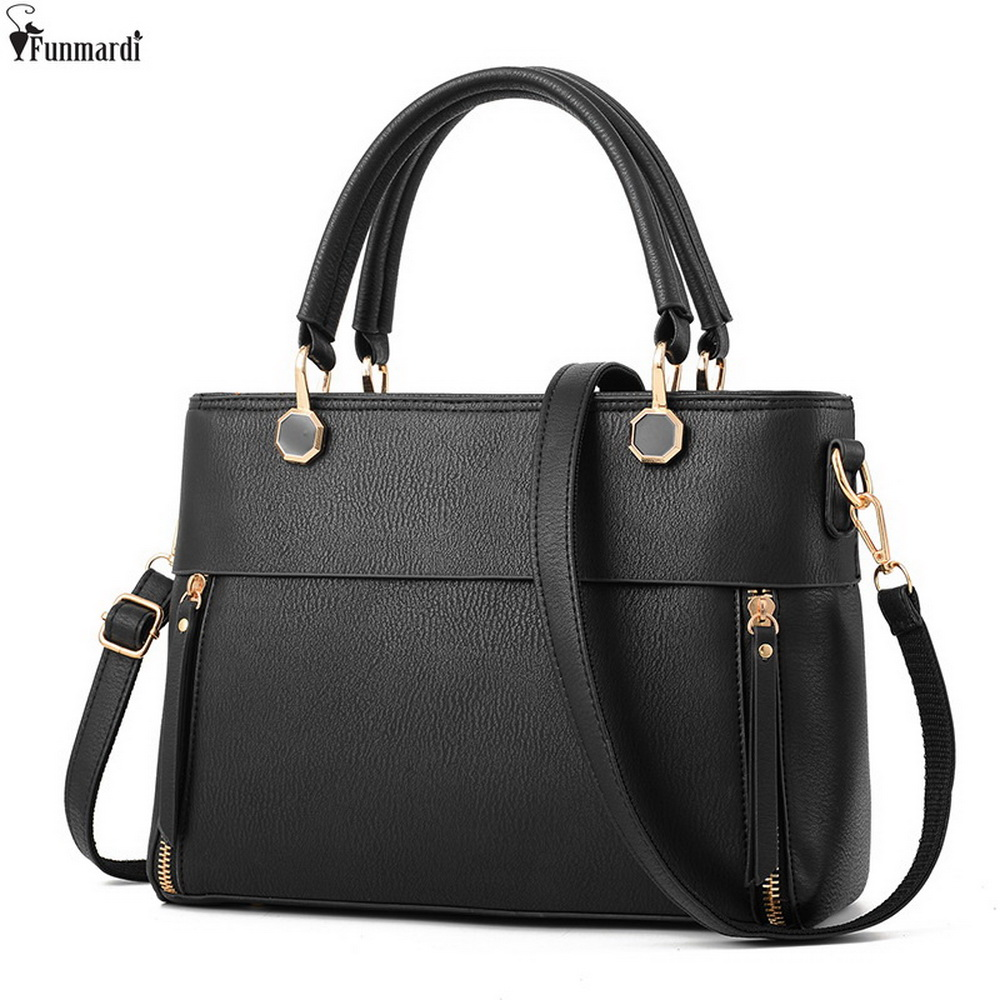 FUNMARDI Famous Brand Women Handbags New arrival Leather Shoulder Bag European And American Style Totes Cross Body Bags WLAM0147 creative new brand women retro genuine leather shoulder bag european and american style woman bag postman package with rivets