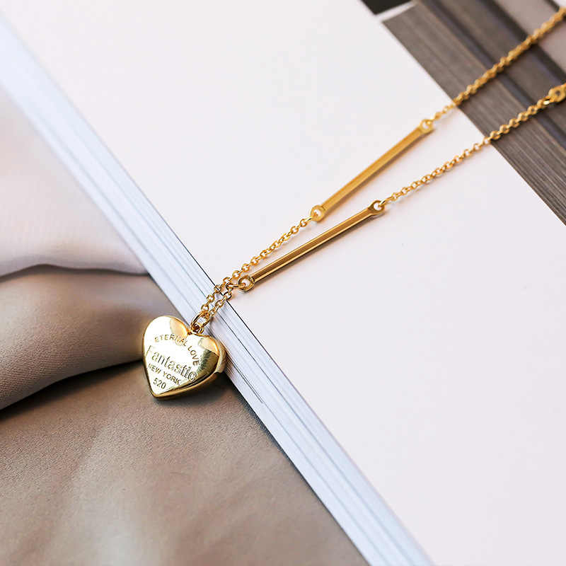 New Simple Love Letter Short Necklace For Women Heart Key Pendant Necklace Stainless Steel Statement Clavicles Collar