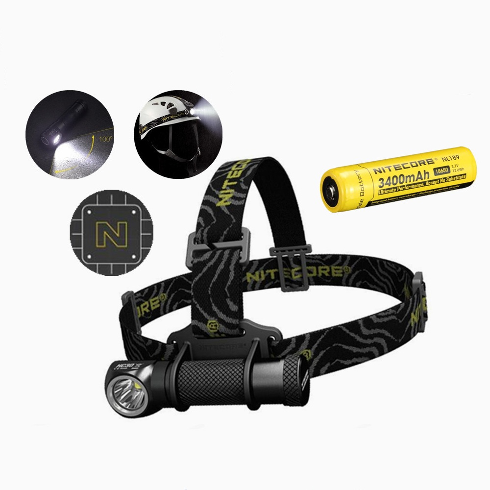 Nitecore HC30 Led Headlamp with NItecore NL189 18650 3400 battery XM-L2 U2 1000 Lumens Full Metal Uniboy Wide-beam HeadLamp oasis hc 30 l white