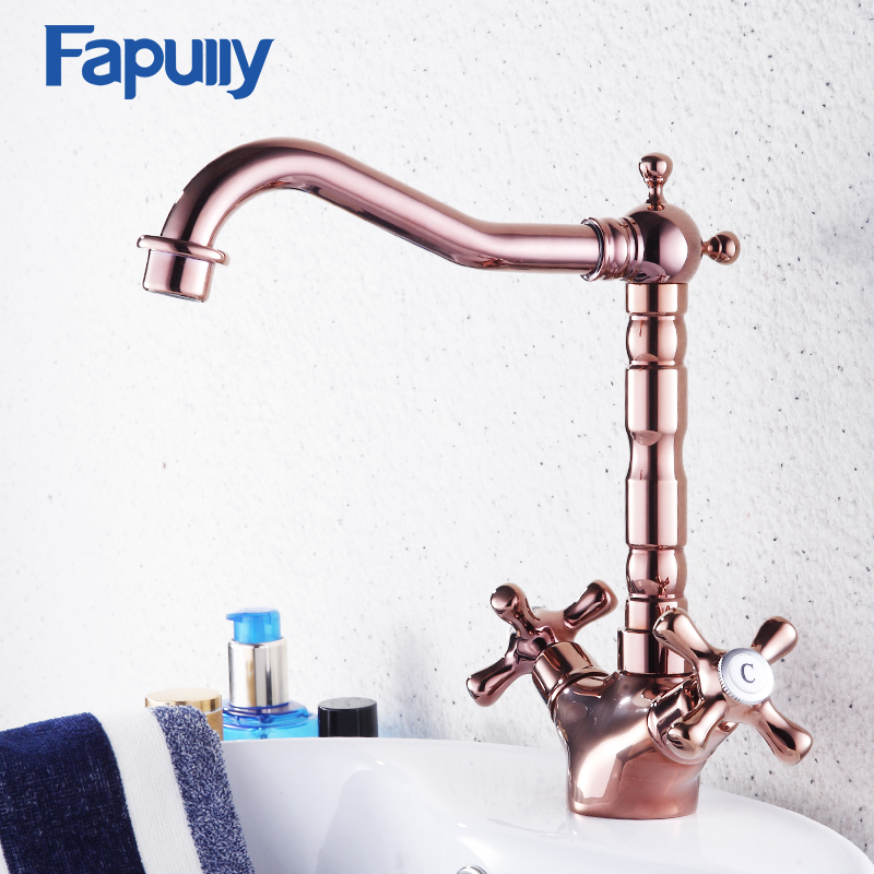 Fapully Dual Cross Handle Bathroom Basin Faucet Sink Deck Mount Ross Gold Tap Hot And Cold Mixer Tap Vintage Brass Faucet