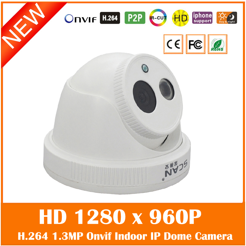 Hd 1.3 Mp 960p Dome Ip Camera Indoor Infrared Night Vision H.264 Onvif Motion Detect White Cctv Webcam Freeshipping Hot Sale hd sony exmor imx122 cmos 2 0mp ip camera 1080p color image night vision support onvif p2p motion detect indoor dome ip camera