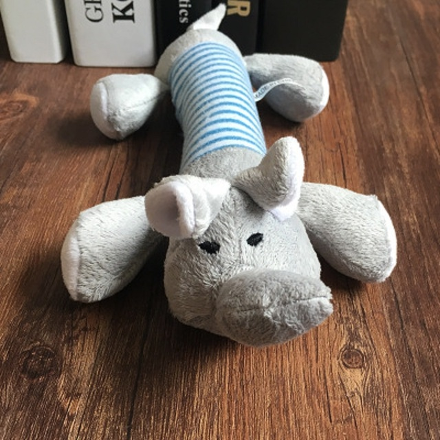 Popular Pet Dog Cat Funny Fleece Durability Plush Dog Toys Squeak Chew Sound Toy Fit for All Pets Elephant Duck Pig Plush Toys 2