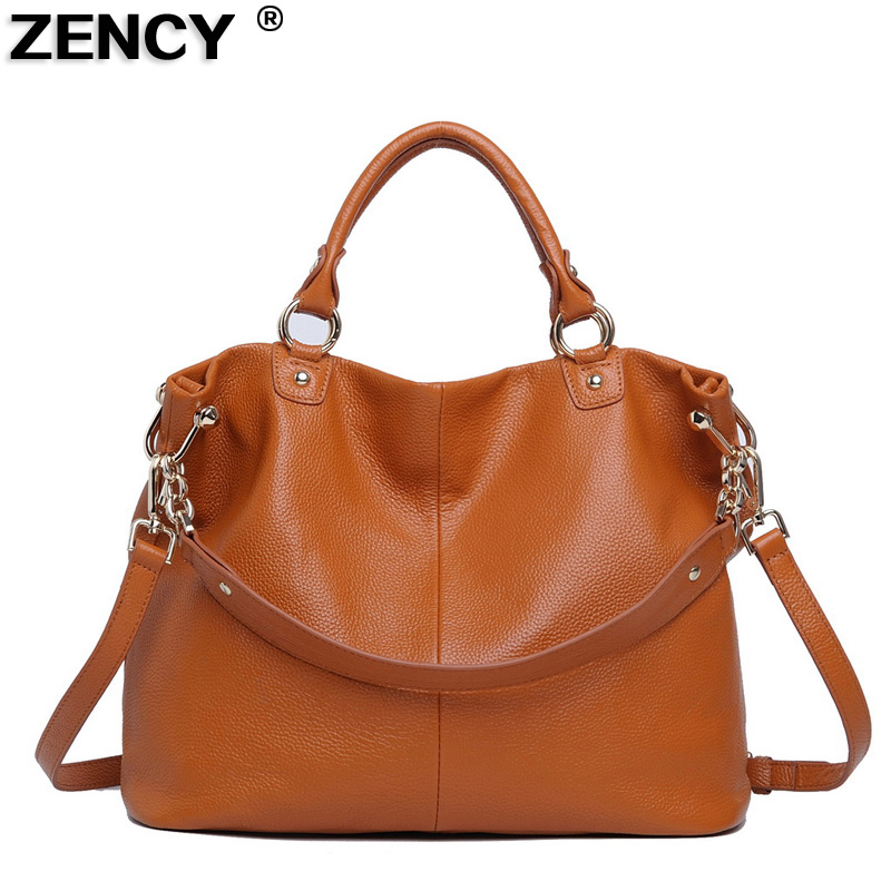 ZENCY New Fashion Top Layer Genuine Leather Women's Shoulder Designer Shopping Bags Casual Tote Handbag Ladies Messenger Leisure zency fashion shopping style handbags women bucket genuine second layer cow leather shoulder messenger cowhide tote bags