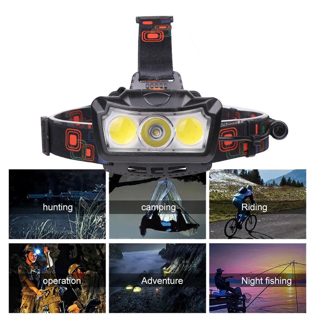 COB LED Headtorch Faros s/úper Brillantes con 6 Modos 18650 Linterna de Emergencia con bater/ía para Correr Acampar Sebastianee LED Head Torch Caminar Escalar