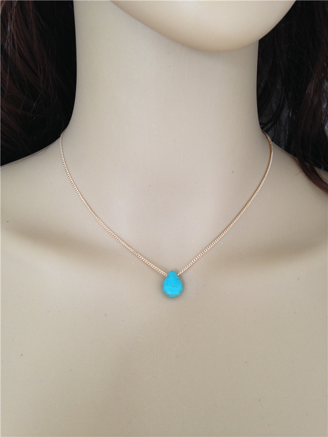 8213cfcf000c Drop Shipping simple Necklace Tiny Teal Teardrop Pendant Chain elegant  Necklace Minimalist Statement Jewelry Dainty Gift-in Pendant Necklaces from  Jewelry ...