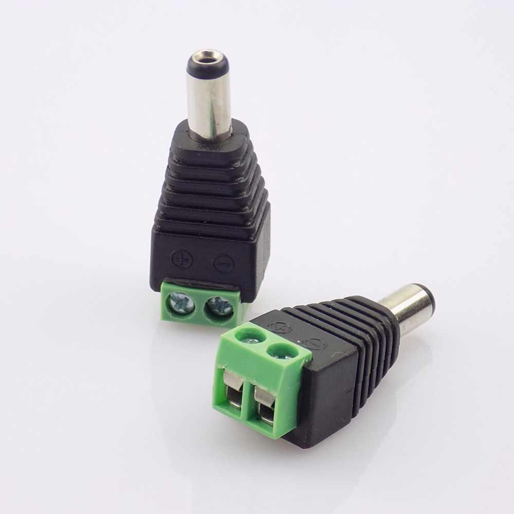 DC12V 1 sztuk mężczyzna 2.1x5.5 MM wtyk zasilania DC adapter gniazda jack złącze wtykowe dla CCTV pojedynczy kolorowy pasek LED światła
