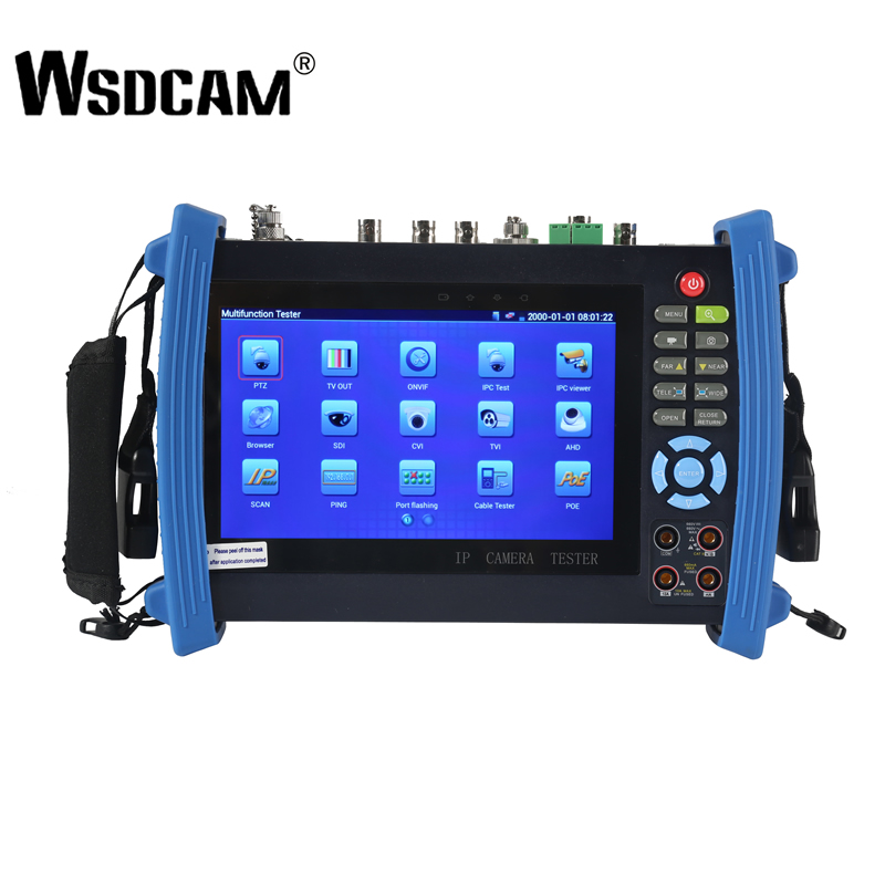 Wsdcam 8600 Series 7 Inch IP Camera Tester Monitor CCTV Tester Anolog Test 1080P POE ONVIF 4K H.265 HDMI In&Out RJ45 TDR