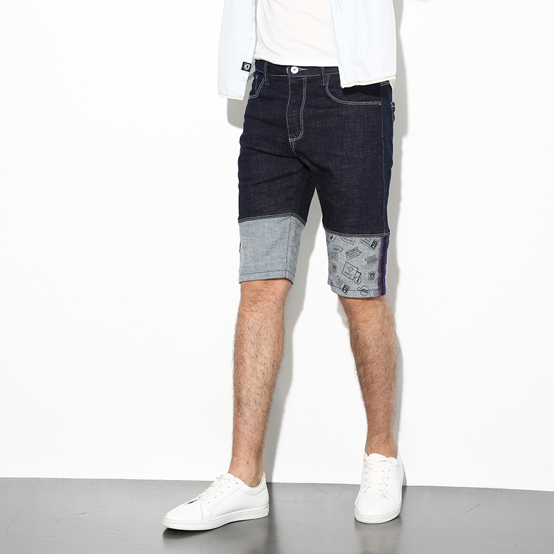 Fashion Summer Men Jeans Shorts Black Blue Color Spliced Short Jeans Designer Paint Stretch Elastic Denim Shorts Men Size 28-36