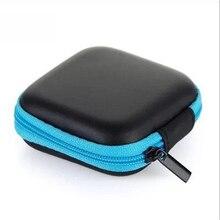 DOITOP Mini cremallera Estuche Duro para Auriculares auriculares de cuero de PU bolsa de almacenamiento de protector de cable USB organizador portátil auriculares caja