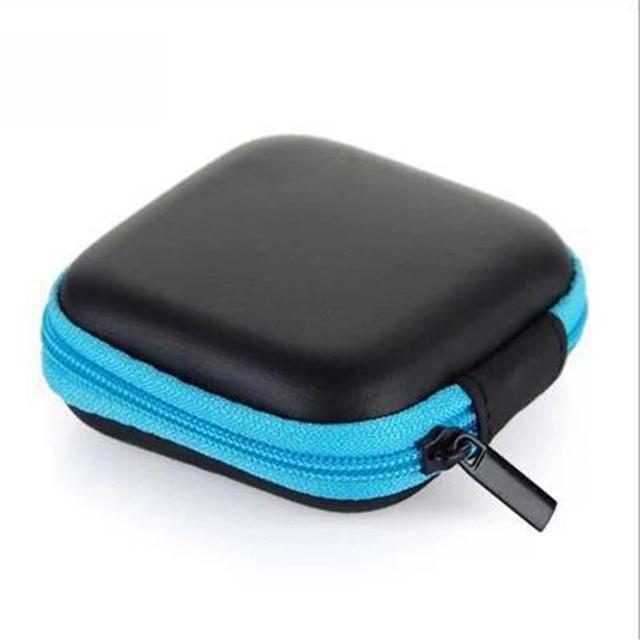 Doitop 미니 지퍼 하드 헤드폰 케이스 pu 가죽 이어폰 보관 가방 휴대용 이어폰 상자에 대 한 보호 usb 케이블 주최자