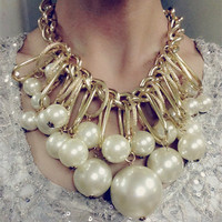 2015 European Fashion Jewelry Hyperbole Chunky Necklace Multilayer Pearl Necklace Pendant For Women Choker Statement Necklace