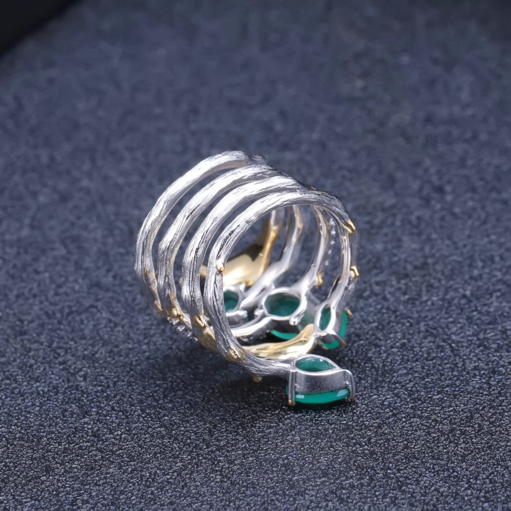 Image 4 - GEMS BALLET 2.26Ct Natural Green Agate Gemstone Finger Rings 925  Sterling Sliver Fashion Band Ring For Women Gift Fine JewelryRings