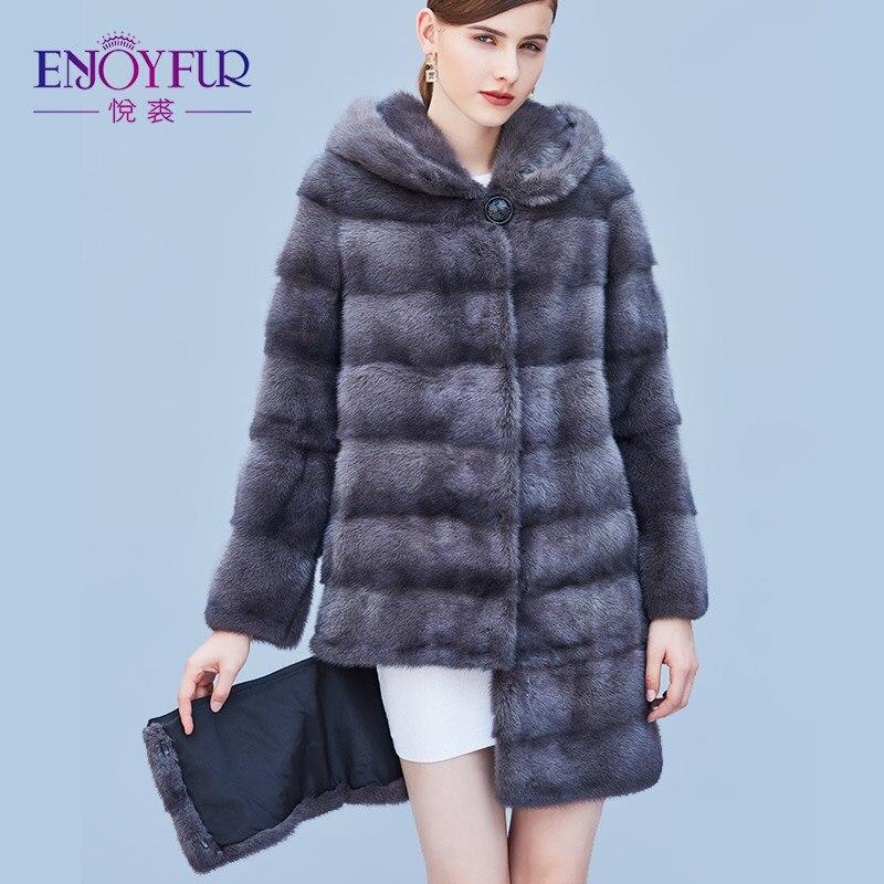 Enjoyfur Для женщин из натуральной норки Мех Пальто и пуховики Натуральный мех пальто с капюшоном зимние высококачественные норки Мех пальто с...