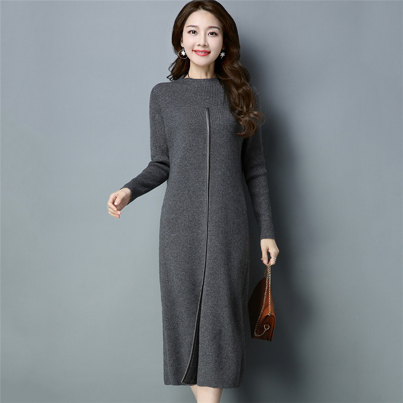 Vestidos Mujer Dress Ukraine Winter Sweater Female Cashmere Dress 2018 New Fashion Slim Long High Quality Knitted Dress NO495 in Dresses from Women 39 s Clothing