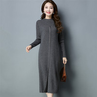 Vestidos Mujer Dress Ukraine Winter Sweater Female Cashmere Dress 2018 New Fashion Slim Long High Quality Knitted Dress NO495