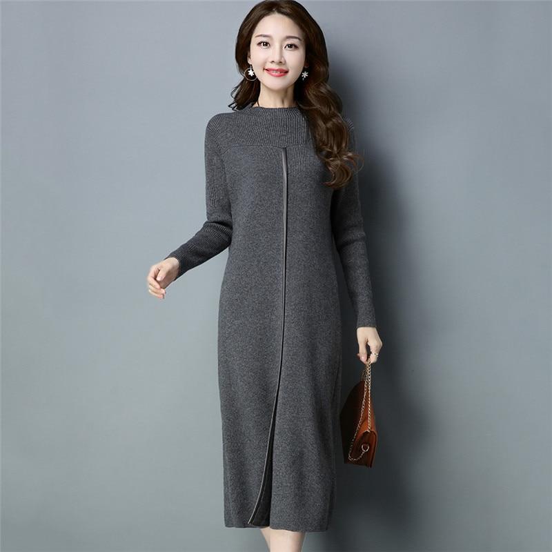 Vestidos Mujer robe Ukraine hiver pull femme robe en cachemire 2018 nouvelle mode mince longue haute qualité robe tricotée NO495