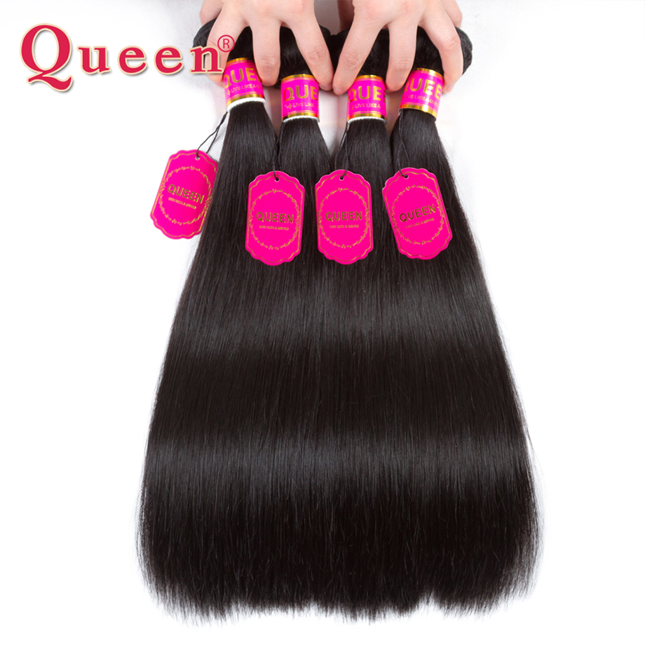 Queen Hair 4 Bundles Malaysian Straight Hair 100% Human Hair Weave Straight Bundles Double Weft Non Remy Hair Extensions ...
