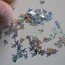 GD20-4 20 г/пакет милые лазерные серебряные наклейки на ногти с кроликом для дизайна ногтей милые украшения для ногтей