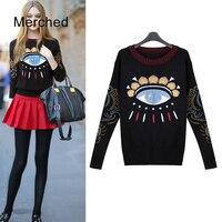 Merched Eyes Embroidery Cute Pullover Sweater Women Autumn Winter Warm Elegant Jumper Female Plus Size 4xl