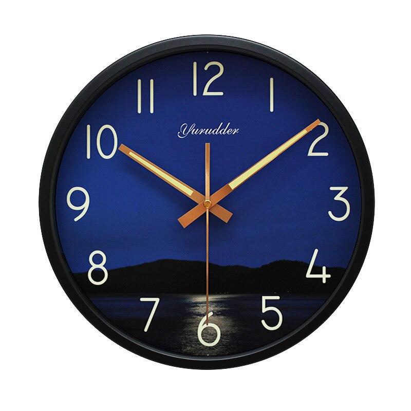 Nejnovější 12 palců moře v noci Design kovový rám moderní móda kulaté nástěnné hodiny LUMINOVA dekorativní nástěnné hodiny