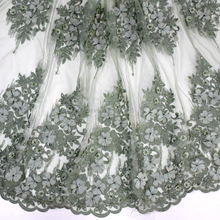 Beautiful Green handmade beaded lace 3d flower french tulle with and sequisn for second dress HY0804-1