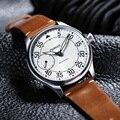 Мужские механические часы Parnis  44 мм  с белым циферблатом и кожаным ремешком