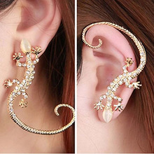 2019 Fashion Rhinestone Ear Cuff Crystal Earrings Luxury Exaggerated Gecko Lizard Stud Elegant Female WD157