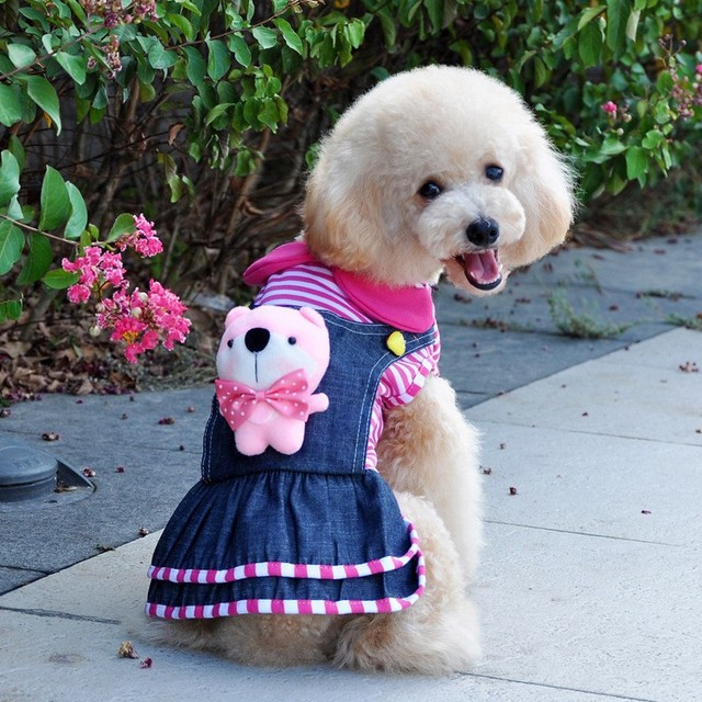 Lovely Pink Dog Dress Winter Christmas Pet Dog Jeans Clothing/Clothes Puppy  Outfits Free Shipping - Lovely Pink Dog Dress Winter Christmas Pet Dog Jeans Clothing