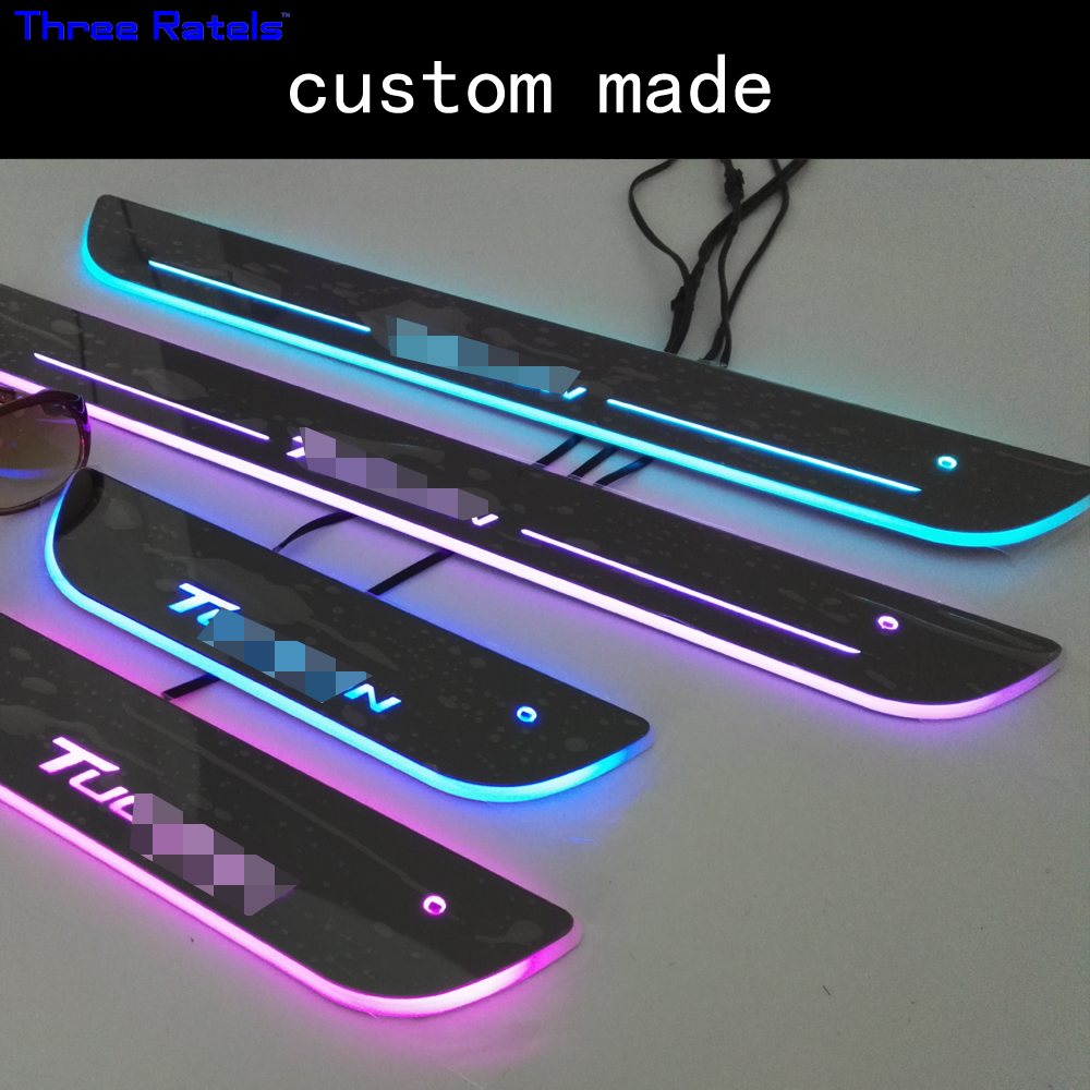 accessories for Hyundai Tucson 2016 solaris door sill scuff plate Led Moving Door Scuff colorful waving light for hyundai tucson 2016 car trunk door sill guard plate 1pcs abs plastic