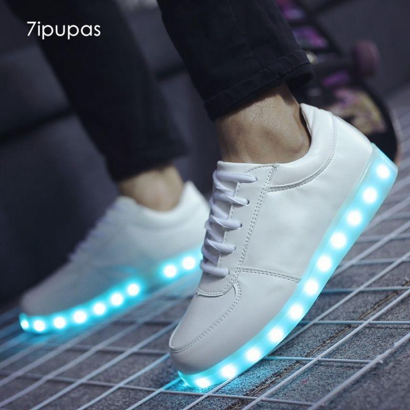 7 ipupas сезон: весна–лето светодиодной вспышкой обувь 22 Стиль красочные люминесцентные дети USB перезарядки светящиеся кроссовки унисекс обувь со светодиодной подсветкой