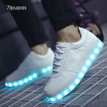 7ipupas Spring Summer Flash Led shoes 22 Style Colorful fluorescent kids usb recharge luminous sneakers Unisex led light shoes(China)