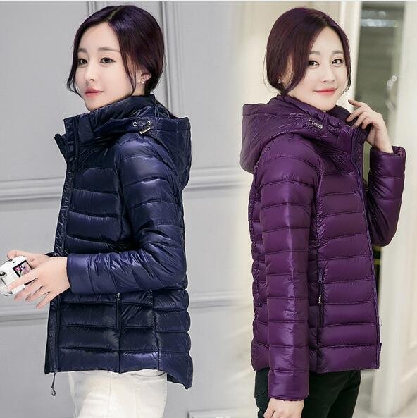 2016 New winter Thin Hooded wadded Coat Women s Cotton Padded Warm Jacket Women Slim Jacket