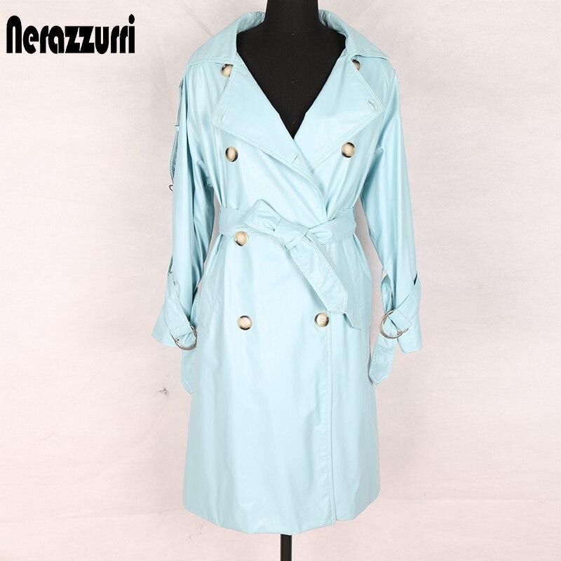 Nerazzurri trench coat for women oversize sashes double breasted pu leather jacket plus size british style