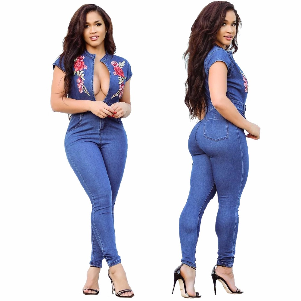 e6ff24ddc09 Floral Embroidery V Neck Denim Long Coveralls Sexy Women Blue Short Sleeve  With Pockets One Piece Bandage Jeans Jumpsuit-in Jumpsuits from Women s  Clothing ...