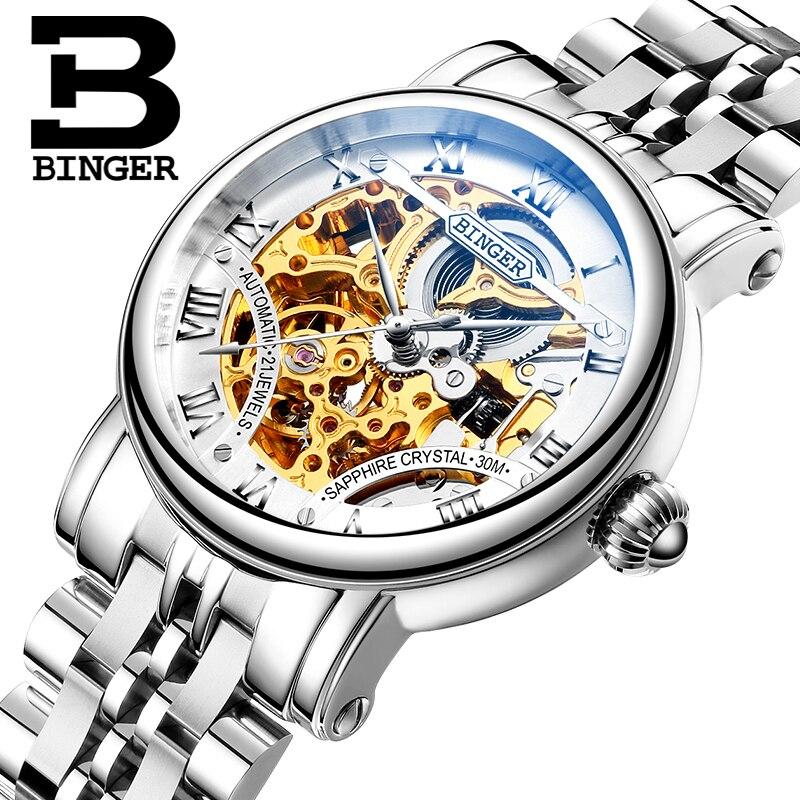 Switzerland luxury men s font b watche b font BINGER brand Hollow Out Mechanical Wristwatches sapphire