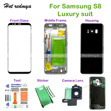 S8 Middle Frame+Full Rear Back Cover Housing+Front Glass+Camera Lens+Set Tools For Samsung Galaxy S8 G950 G950F Complete Parts rear gear box housing complete set drive